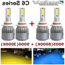 9005 8000K Blue + 9006 3000K Yellow LED Headlight 100W 20000