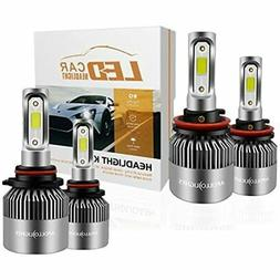 H11/H9 Low Beam 9005/HB3 High LED Headlight Bulbs Combo Pack